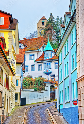 Obraz na Szkle Narrow street with colorful buildings in Lucerne