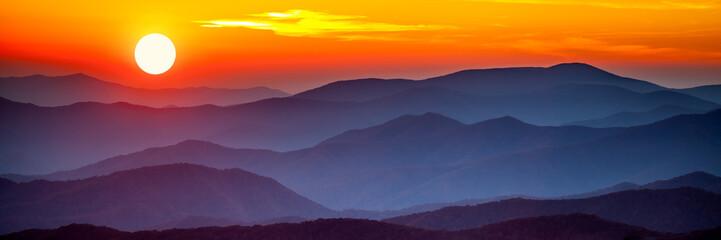 Zachód słońca smoky mountain