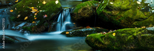 Smoky Mountain stream with mossy rocks - 96277313