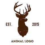 Hipster logotype with brown head of deer.