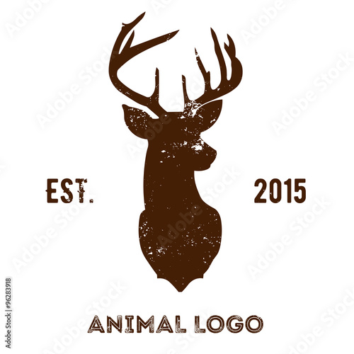 Fotobehang Hipster Hert Hipster logotype with brown head of deer.
