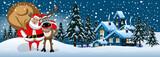 Santa Claus hugging reindeer in the snow banner