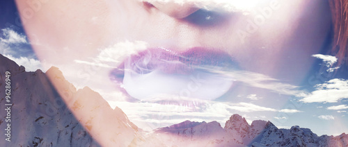 Double exposure of woman mouth smoking and mountainscape letterb - 96286949