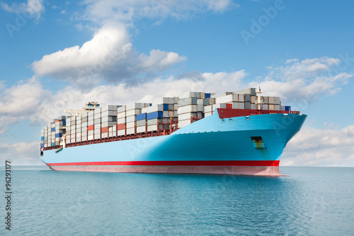Container carrier is at sea