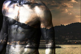 Double exposure of man chest and lake landscape