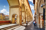 Arches of the Vasari Corridor in Florence, Tuscany, Italy