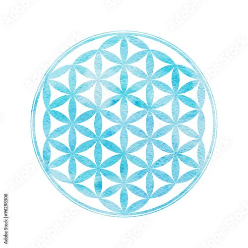 Watercolor sacred geometry. Flower of life.