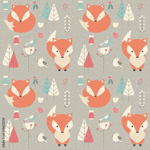 Cotton fabric Seamless pattern with cute Christmas baby fox surrounded with fl