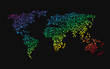 world map made ​​up of small dots rainbow colors