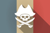Long shadow flag of France vector icon with a pirate skull