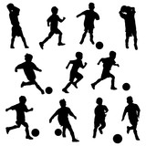 boys in silhouettes playing soccer or football