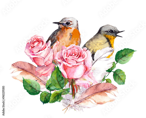 Rose, birds and feathers. Watercolor - 96329580