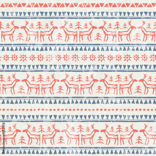 Cotton fabric Hand drawn tribal seamless pattern with reindeers