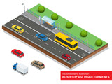 Fototapety Bus stop. Set of the isometric bus, sedan, taxi, cargo, mini and bus stop.