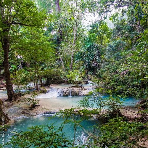 Tropical waterfall.  Deep forest Waterfall.  waterfall in the fo © EwaStudio