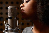 Fototapety Female Vocalist In Recording Studio