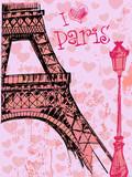 Paris grunge background with Eiffel tower