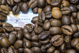 Fototapety Map of Costa Rica under a background of coffee beans