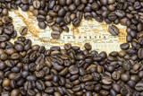 Fototapety Map of Indonesia under a background of coffee beans