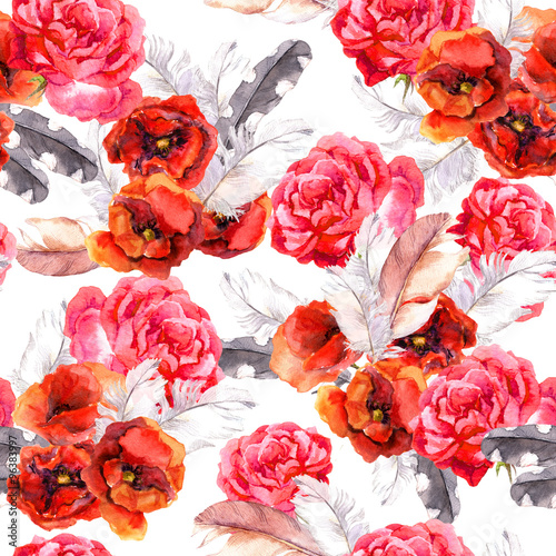 Cotton fabric Seamless floral pattern with watercolor flowers and feathers. Watercolor