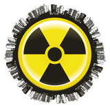 radioactivity icon with city and world