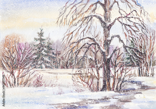 Watercolor painting: footpath in winter park