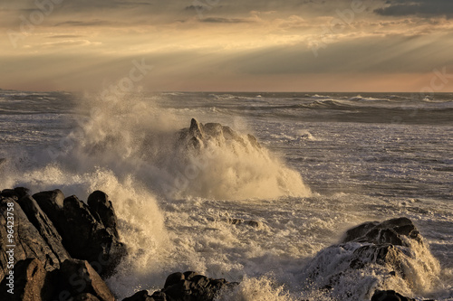Stormy coast at sunset