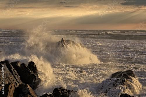 Stormy coast at sunset