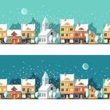 Fototapety Winter town. Urban winter landscape. Cityscape. Vector illustration, flat style.