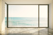 Empty loft room with big window in floor and ocean view - 96428533
