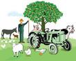 Bauernhoftiere mit Bauer
