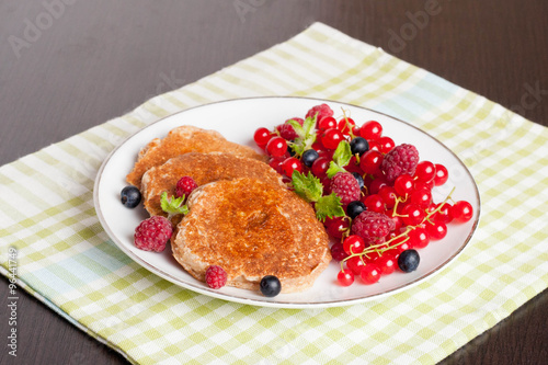 """sweet cheese pancakes with fresh berries and milk"""" Stock photo and ..."""