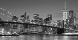 Fototapeta Nowy Jork - Black and white Manhattan waterfront at night, NYC. © MaciejBledowski
