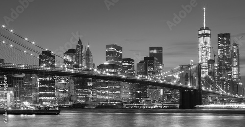 Black and white Manhattan waterfront at night, NYC.
