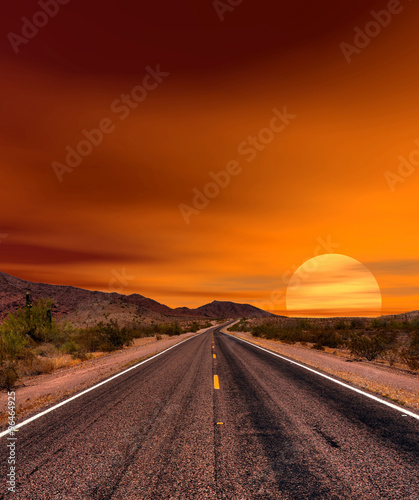 Poster Arizona Sunset Road