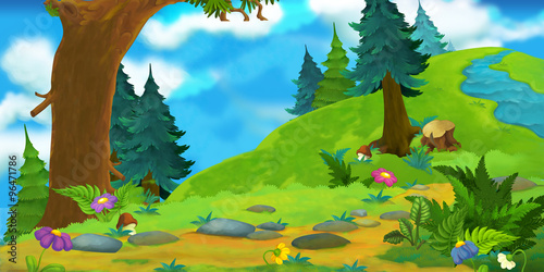 Cartoon background of a forest - illustration for the children - 96471786