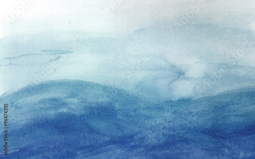 Blue waves in watercolor - 96474305