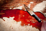 Conceptual image of a sharp knife with blood on floor