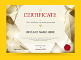 Fototapety Geometry diploma certificate template design with international