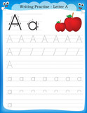 Fototapety Writing practice letter A
