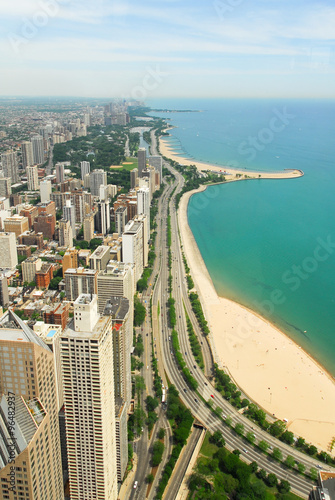 Chicago Skyline and Gold Coast View Poster