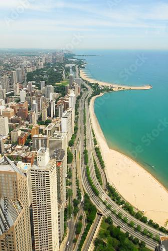 Chicago Skyline and Gold Coast View плакат