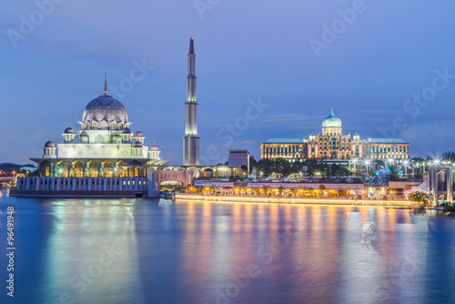 Poster Putra Mosque and Perdana Putra in Putrajaya at  evening