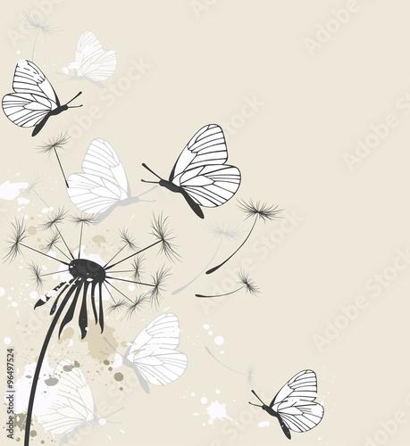 Foto op Canvas Vlinders in Grunge Dandelion and butterflies