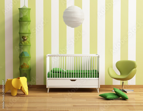 Baby's room with yellow chair - 96504987