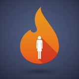 Long shadow vector flame icon with a female pictogram