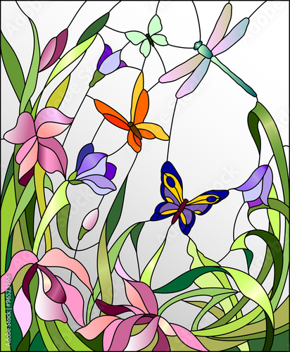 Naklejka Stained glass window with flowers and butterflies
