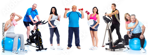 Group of healthy fitness people. © Kurhan