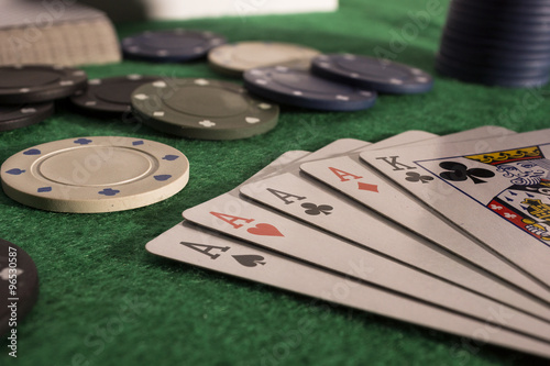 Poster Poker cards and chips on green poker table