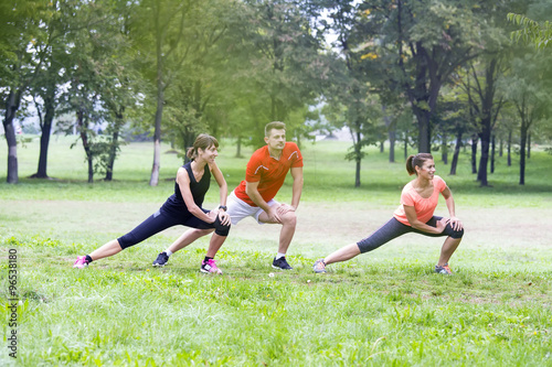 Fototapeta Young people training outdoor